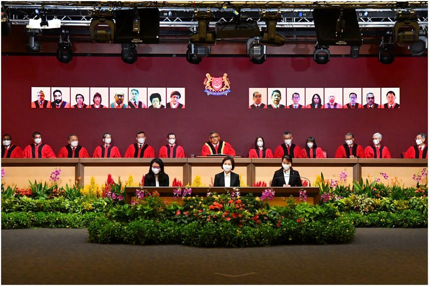 Chief Justice Sudaresh Menon (centre) speaks at the Opening of Legal Year 2021 on Jan 11, 2021.