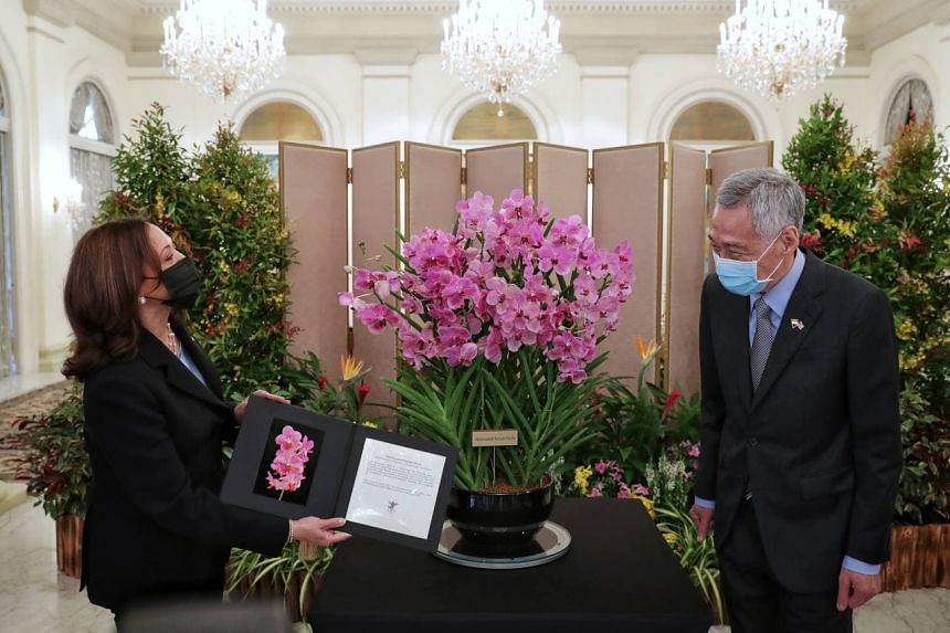 Ms Harris was presented with a spray of orchids named after her as PM Lee looks on at the Istana on Aug 23, 2021.