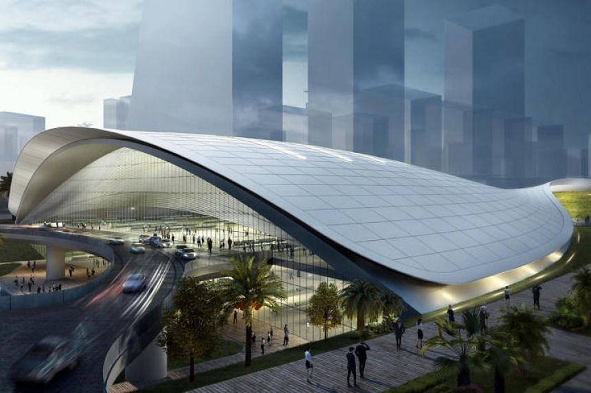 An artist's impression of the High Speed Rail Terminal in Jurong East for the terminated project.