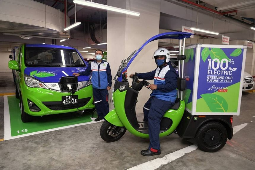 Singapore Post's target is to reduce absolute greenhouse gas emissions by 35 per cent by 2030.