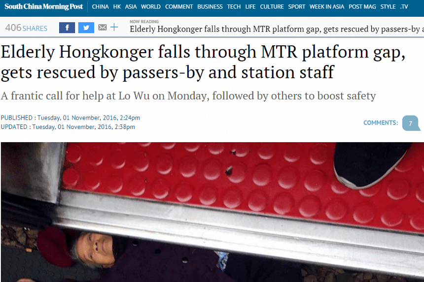 The incident was reported in the South China Morning Post on Tuesday.