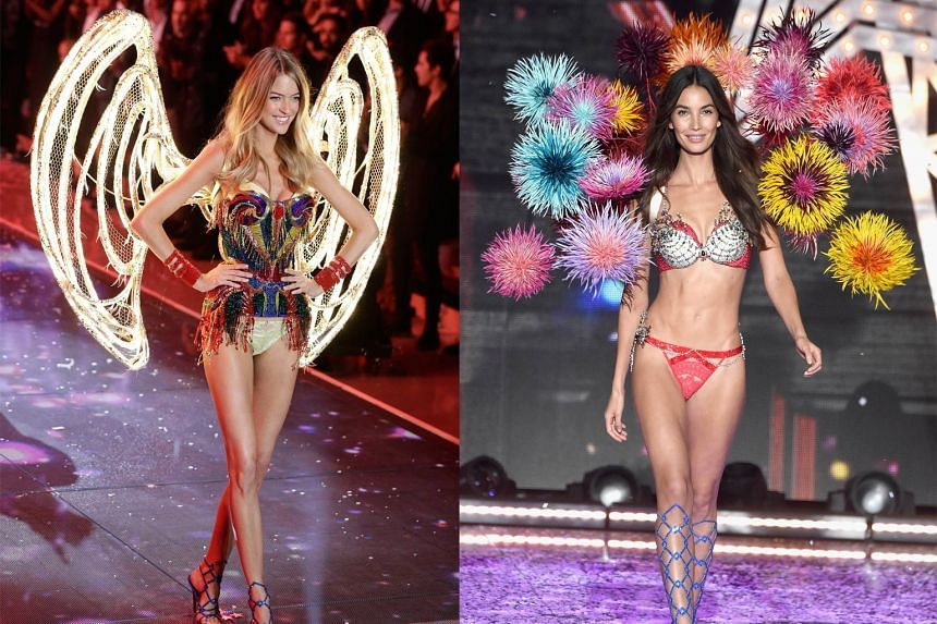 American model Martha Hunt (left) sports the blinged-out, bespoke Swarovski lingerie creation as one of the 10 new angels. China model Ming Xi (above left) is decked out for Christmas, while American model Kendall Jenner (above right) joins the angel