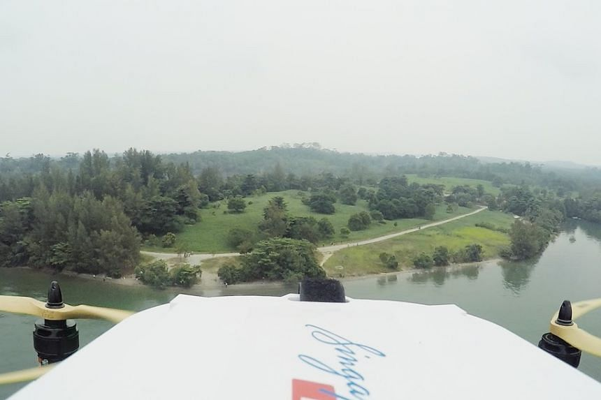 The view from the drone en route to Pulau Ubin.