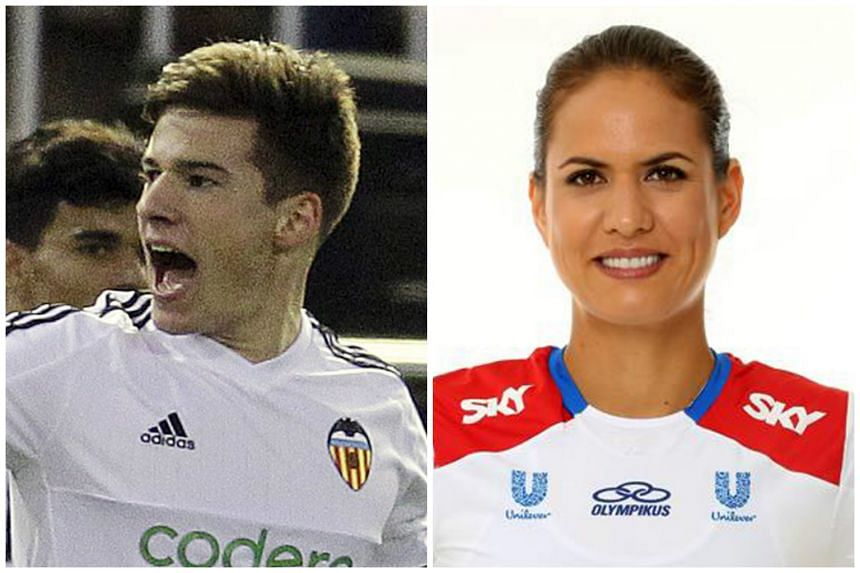 Valencia's Santi Mina (left) and Olympic volleyball player Logan Tom are among the athletes who will be in town to present the Singapore Olympic Foundation (SOF)-Peter Lim scholarships.