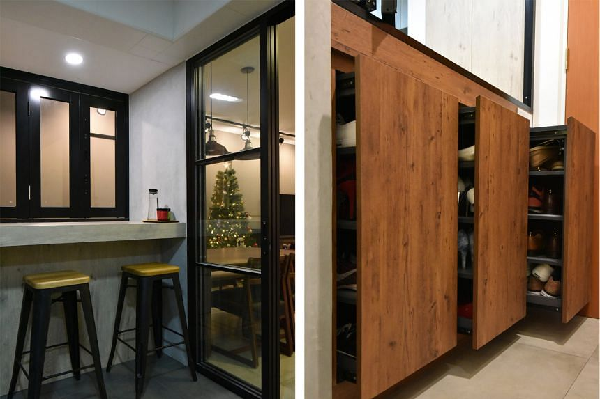 Hidden shoe cabinets (right); and a view of the breakfast counter (left) from the kitchen.