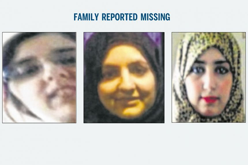British sisters (from left) Sugra, Zohra and Khadija Dawood are thought to have travelled to Syria to join ISIS with their nine children. One sister has made contact with her family in Britain.