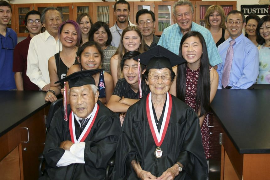 Mr and Mrs George Kaihara with family members in the Tustin High School Science Centre in California before the graduation ceremony. They could not graduate at the school 72 years ago as they were interned in an Arizona camp.