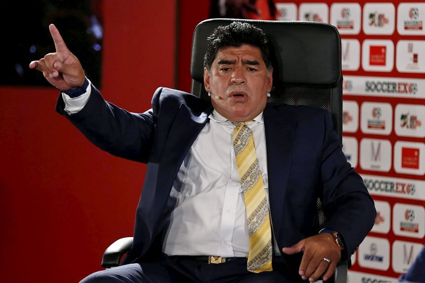 Diego Maradona at last month's Soccerex Asian Forum in Jordan. He is the third man to declare his candidacy for Fifa's top job, after the long-serving Sepp Blatter pledged to step aside despite being re-elected last month.