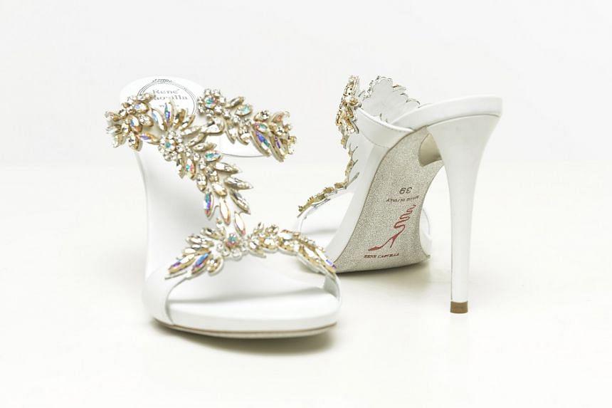 Rene Caovilla T-bar leaf sandals.