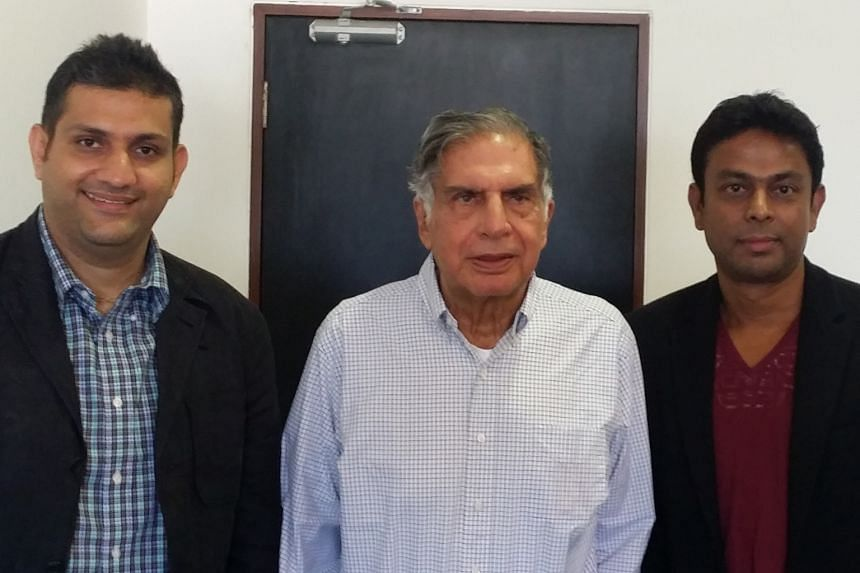 Mr Ratan Tata (centre) with Jungle Ventures' Amit Anand (left) and Anurag Srivastava. Mr Tata joined Jungle as special adviser.