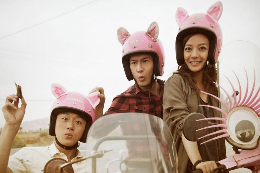 Easy camaraderie among Tong Dawei (left) as a chatterbox fellow tourist from China, Huang Xiaoming (centre) as a man dumped by his girlfriend, and Vicki Zhao Wei as the resourceful tour leader.