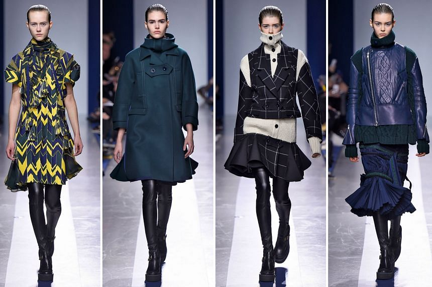 Sacai's fall/winter 2015 collection at Paris Fashion Week is a fusion of knitwear, lace and cotton.