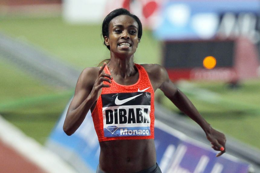 Ethiopia's Genzebe Dibaba winning the women's 1,500m in world-record time at the IAAF Diamond League Athletics meet in Monaco on Friday.