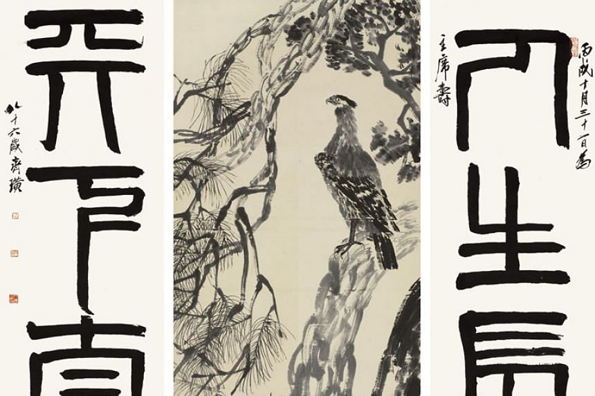 Eagle Standing on Pine Tree: Four-Character Couplet in Seal Script, a masterpiece by 20th century painter Qi Baishi. Some of his artworks were among those stolen by a chief librarian. PHOTO: BLOOMBERG