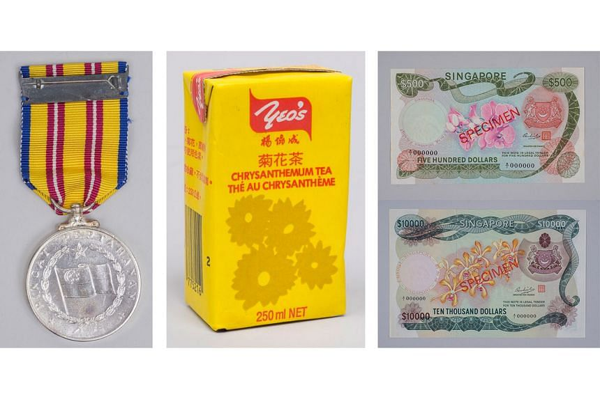 (From left) The Pingat Pertahanan Medal, awarded to personnel involved in the fight during Konfrontasi; a Yeo's packet drink; the first currency notes, called the Orchid series, issued in 1967.