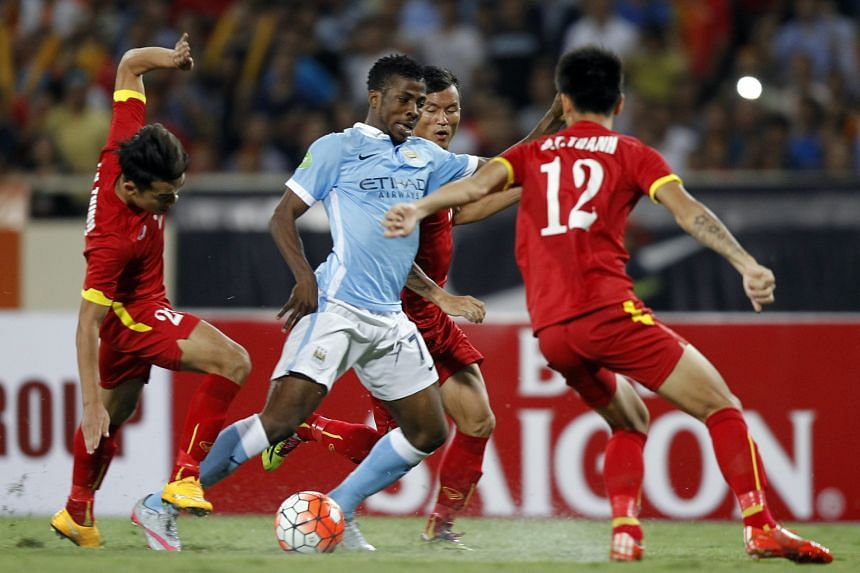 City's big signing Raheem Sterling giving the Vietnam defence plenty of problems. He scored a brace in their 8-1 friendly win in Hanoi last month.