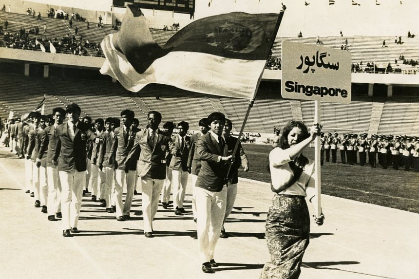 Lim Teng Sai, part of the Combined Schools team who played in Cheras days before Singapore's independence, was also the country's flag-bearer at the 1973 AFC Youth Championship in Teheran, Iran. At left in front is future radio DJ and sports commenta