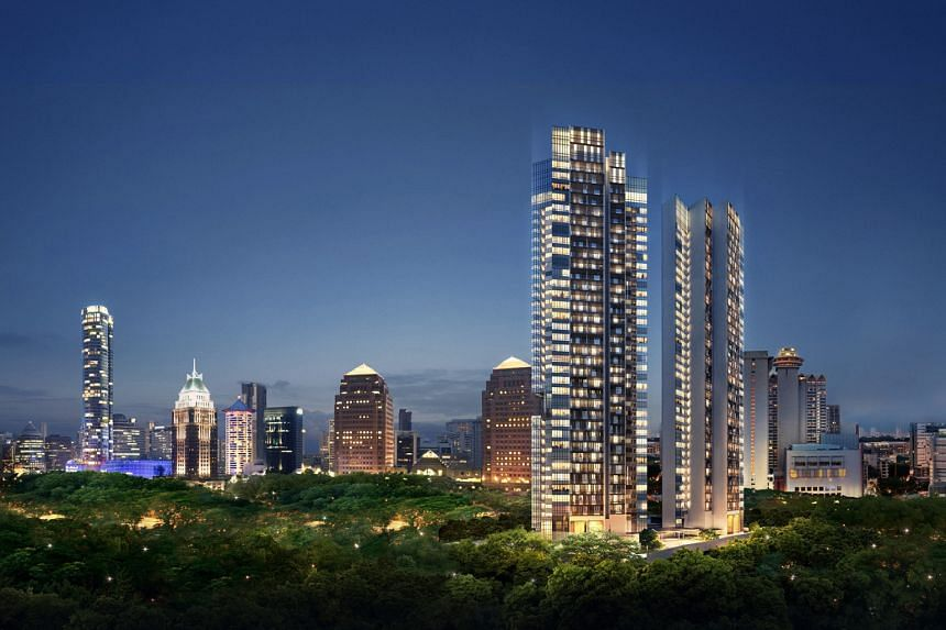 Sales at OUE's sole residential project OUE Twin Peaks (seen here in an artist's impression) remained subdued. Despite cautious headwinds in the high-end residential market, the firm said it will continue to drive sales at Twin Peaks.