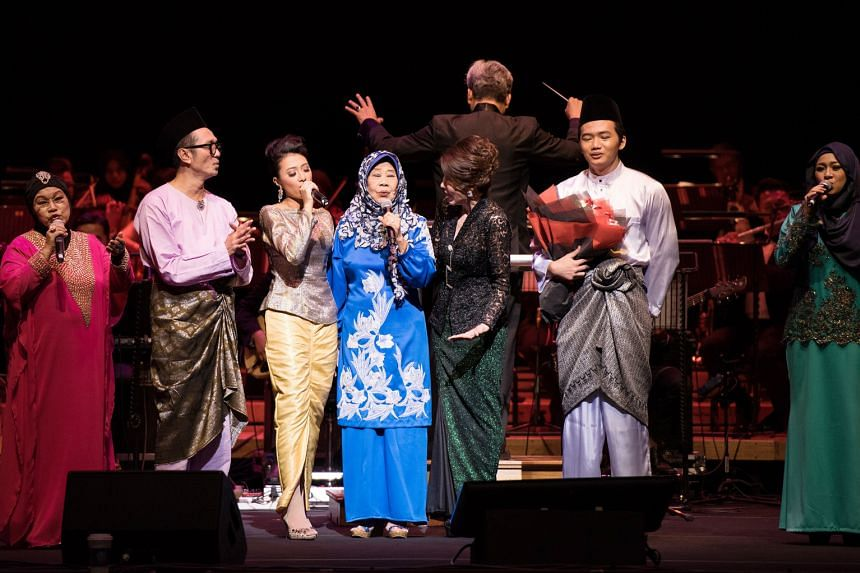 Performers such as Najip Ali (second from left) held a tribute concert, Si Cempaka Biru, for Malay music legend Nona Asiah.