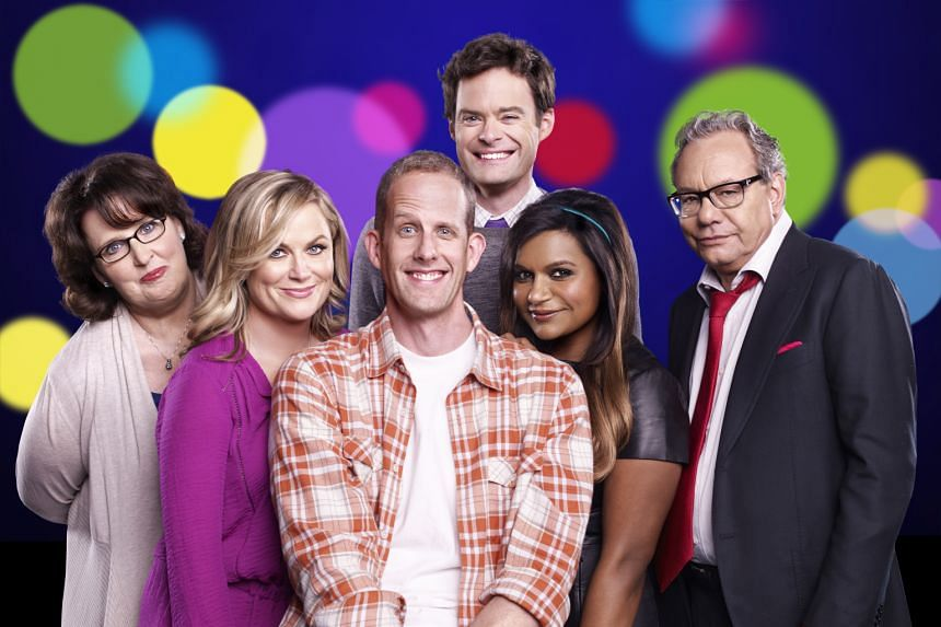 Inside Out writer-director Pete Docter (centre) with (from left) Phyllis Smith (Sadness), Amy Poehler (Joy), Bill Hader (Fear), Mindy Kaling (Disgust) and Lewis Black (Anger).