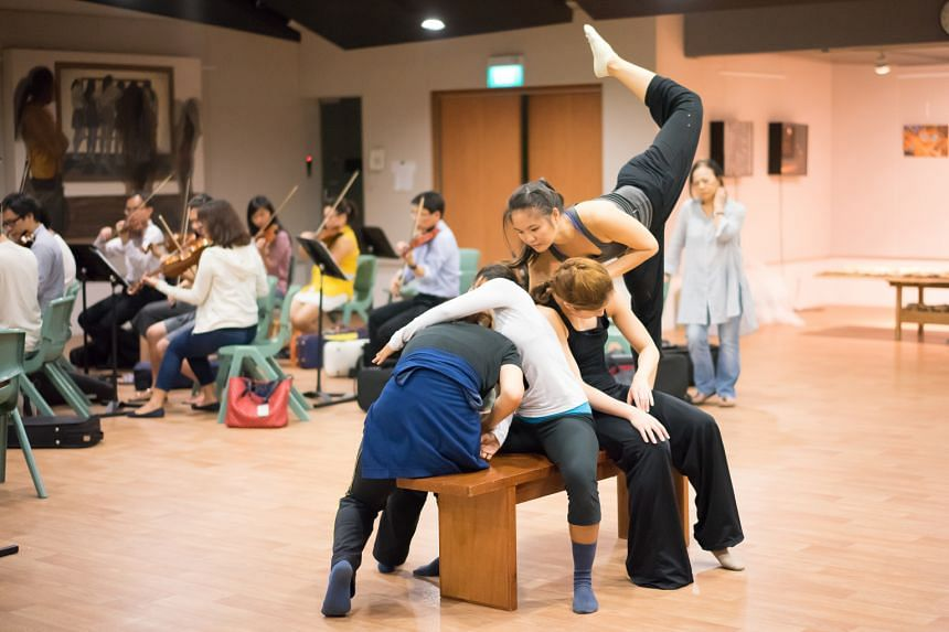 Arts Fission Company dancers during rehearsals with the Philharmonic Orchestra.