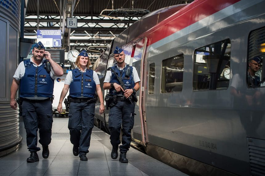 Police officers patrolling on the Thalys train station platforms in the wake of last week's would-be attack on a French train travelling from Amsterdam to Paris. And EU ministers are meeting on Saturday to discuss security.
