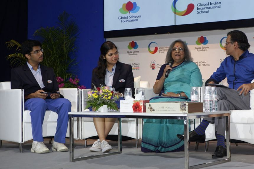 Peace activist Ela Gandhi (second from right), the granddaughter of Indian independence leader Mahatma Gandhi, giving a talk yesterday at the Global Indian International School (GIIS). Ms Gandhi, 75, spoke about her experience fighting apartheid alon