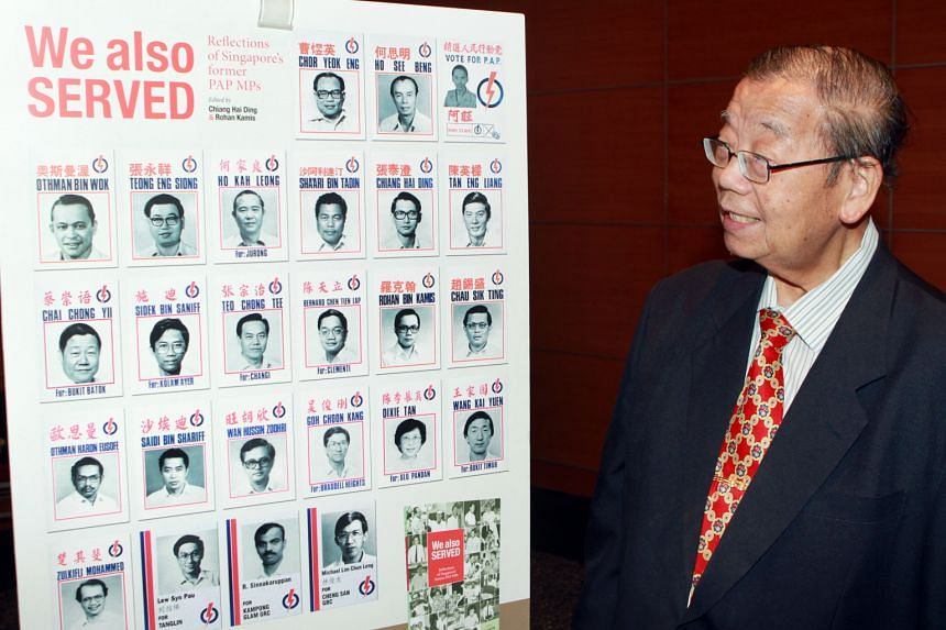 Former PAP MP Teong Eng Siong at the launch of the book, We Also Served - Reflections Of Singapore's Former PAP MPs, at the SPH News Centre last year. He was MP for Sembawang from 1963 to 1980.