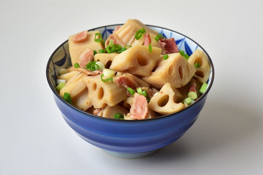 Chunks of lotus root are simmered in a dashi broth spiked with mirin and shoyu, with bacon adding some smokiness.