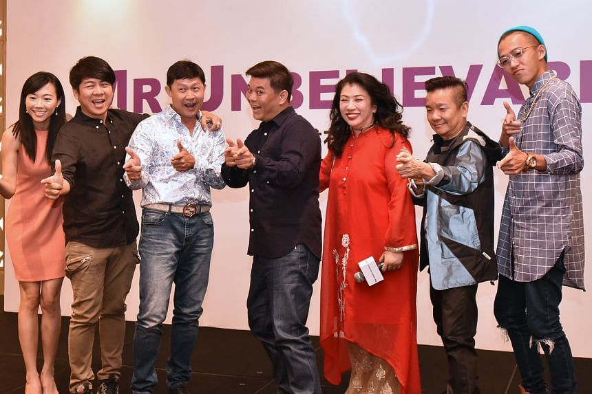 The cast of Unbelievable (from left) Jamie Teo, Roy Loi, Chen Tianwen, director Ong Kuo Sin, Liu Lingling, Marcus Chin and Tosh Zhang.