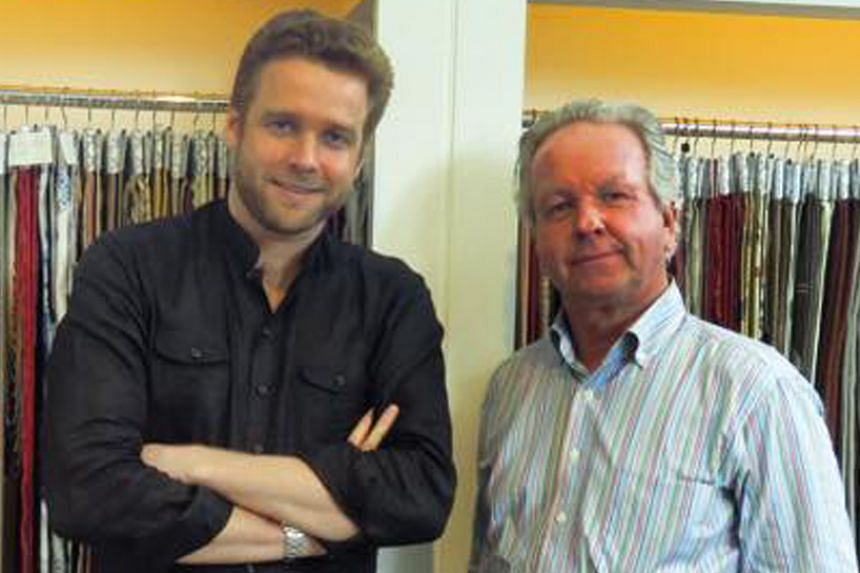 Pierre Frey's Origines collection (left) is inspired by Aboriginal art. The company's creative director Patrick Frey (below right) and his son Matthieu.