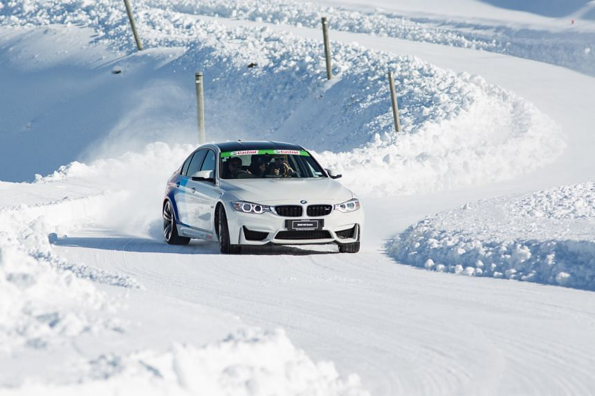 A BMW X6 drifting in snow. Doing slaloms on ice in a BMW X3. The 1,500m-high Southern Hemisphere Proving Ground is an hour's drive from Queenstown or a 10-minute flight by helicopter. A hot lap in a BMW M3 piloted by rally champ and NZ chief driving