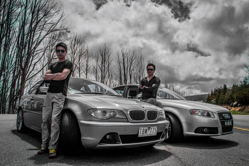 Dr Sherman Lee (left) with his BMW 330Ci and Dr Roy Ong with his Audi A4 3.2 quattro in Australia.