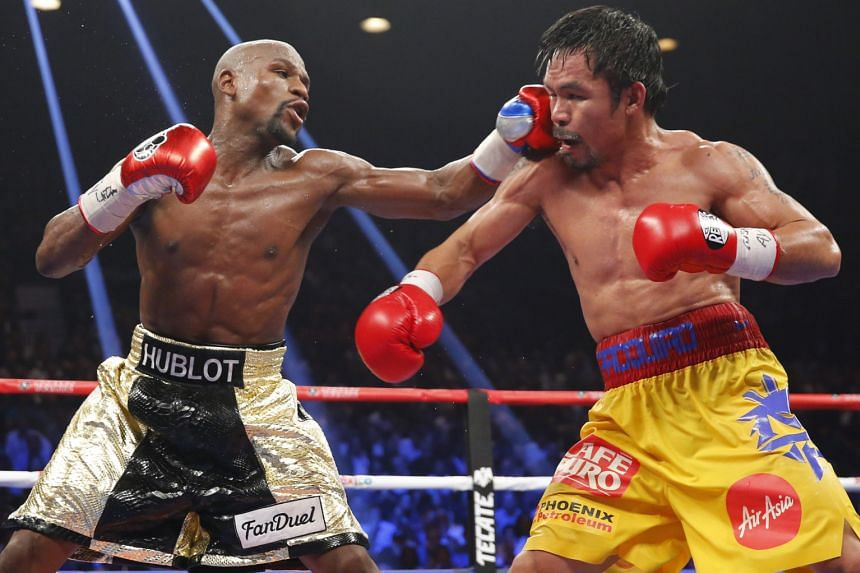 It took a long time before Floyd Mayweather (far left) and Manny Pacquiao agreed to fight. The American had insisted that the Filipino abide by a strict drug-testing regimen.