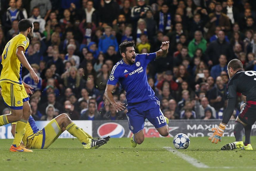 Diego Costa is fouled by Maccabi Tel Aviv's Tal Ben Haim in the box, resulting in a penalty which Oscar scored to put Chelsea up 2-0. Jose Mourinho reshuffled his starting XI after a recent run of poor results.