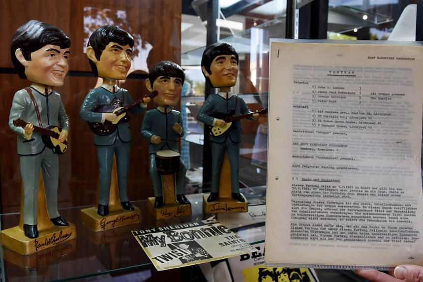 The first recording contract signed by The Beatles for the My Bonnie session in Hamburg in 1961.