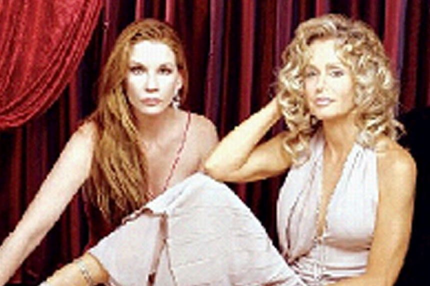 Author Jackie Collins' (left) 2001 bestseller, Hollywood Wives: The New Generation, was made into a TV movie starring (above from left) Melissa Gilbert and Farrah Fawcett.