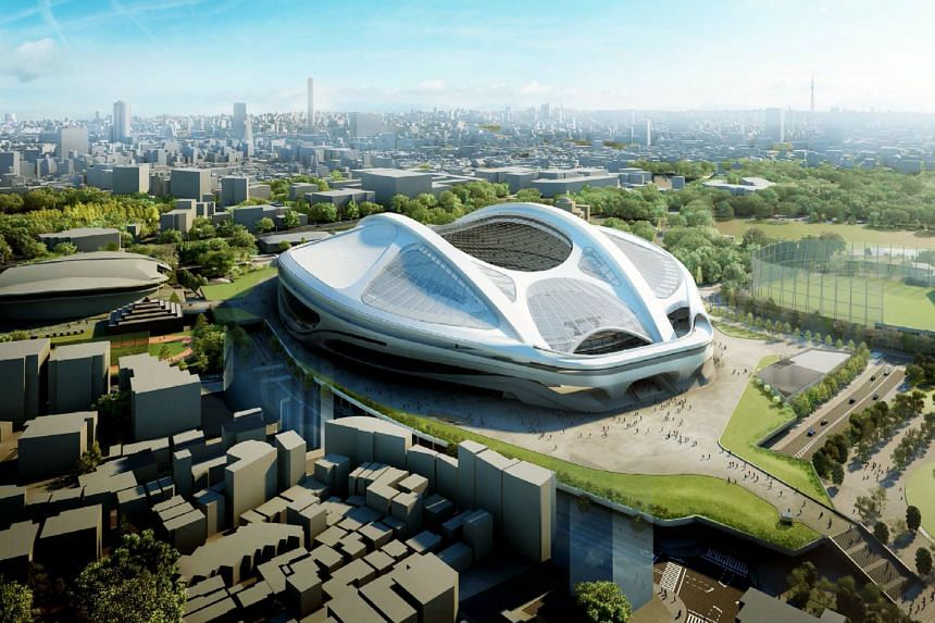 Architect Zaha Hadid (above) in front of the Serpentine Sackler Gallery in London she designed. An artist's impression of the new National Stadium for the 2020 Olympic Games in Tokyo (left) that Ms Hadid designed and which was later scrapped due to s