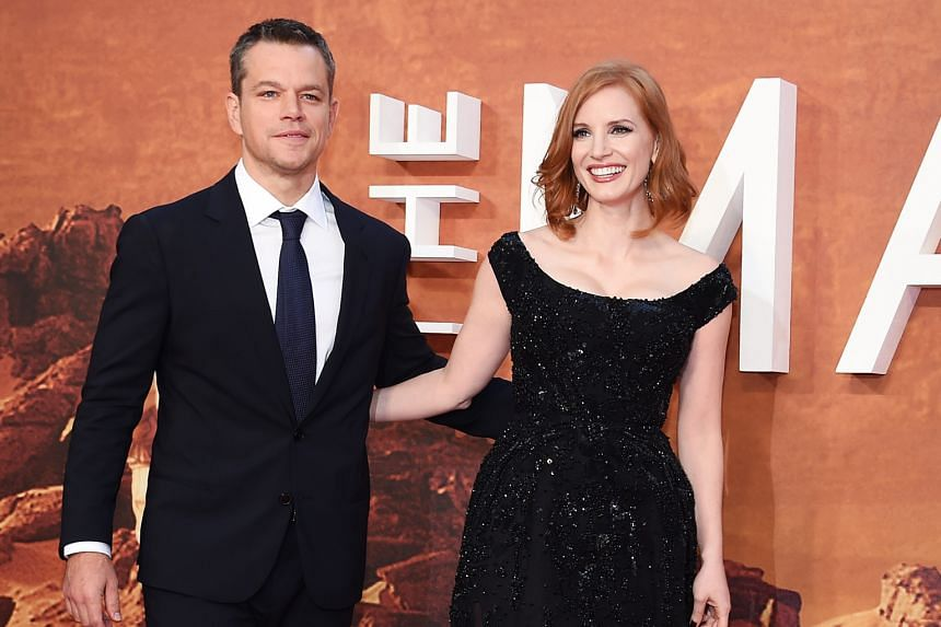 Cast members Matt Damon and Jessica Chastain attending the European film premiere of The Martian in London. The science-fiction film is directed by Ridley Scott.