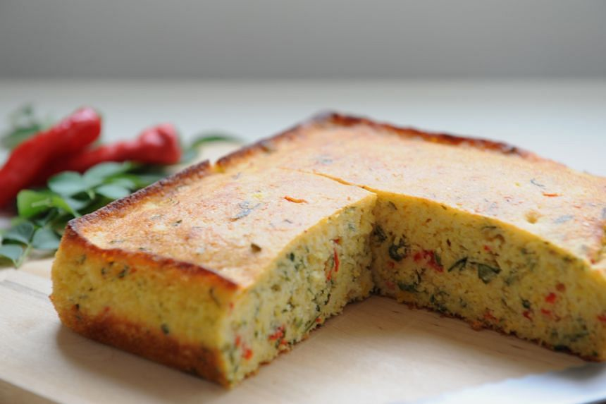 Make a moist and aromatic cornbread with curry leaves, chilli, corn kernels and buttermilk.