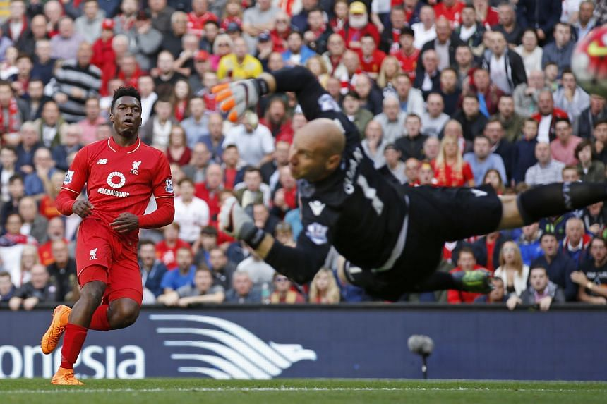 Daniel Sturridge scoring the first of his two goals to put Liverpool 2-0 up against Aston Villa. His return from injury is just the tonic under-fire manager Brendan Rodgers needs.