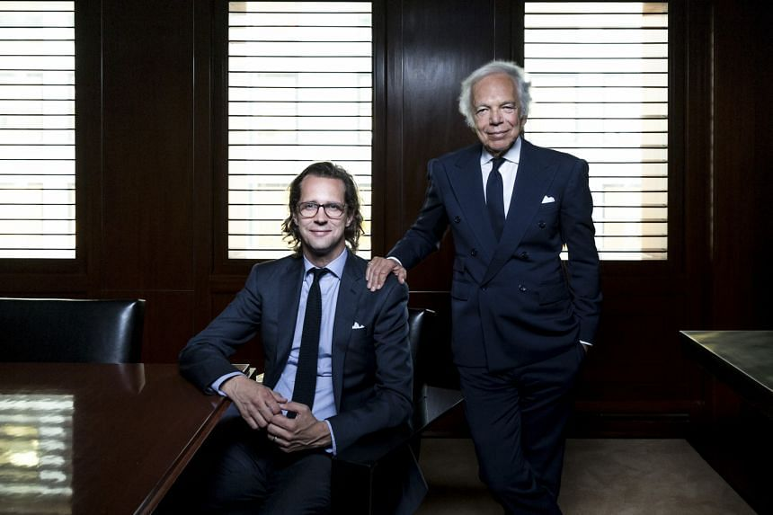 Ralph Lauren (far right) will hand over the reins of his company to Mr Stefan Larsson (right) next month.