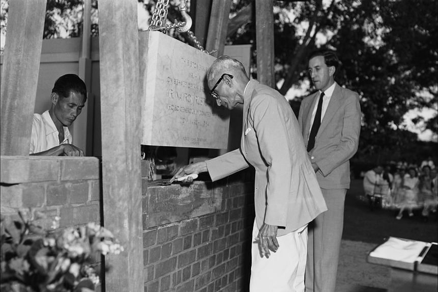 (Right) Mr Hormusji Mistri, younger brother of philantropist Navroji Mistri, laying the foundation stone of Singapore General Hospital's Mistri Wing, and (far right) inspecting a nurses' guard of honour with Singapore's director of Medical Services W