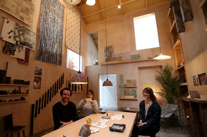 (From left) Lewis Jones, Amica Dall and Fran Edgerley from the collective Assemble in part of their recreated work in Glasgow.