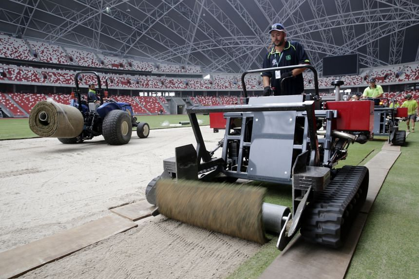 Work has been completed on the National Stadium's replica field, with the original surface taken for maintenance.