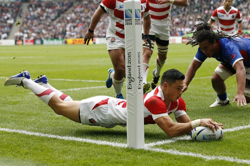 Akihito Yamada scoring the first try for Japan in their comfortable 26-5 Pool B win over Samoa on Saturday in Milton Keynes.