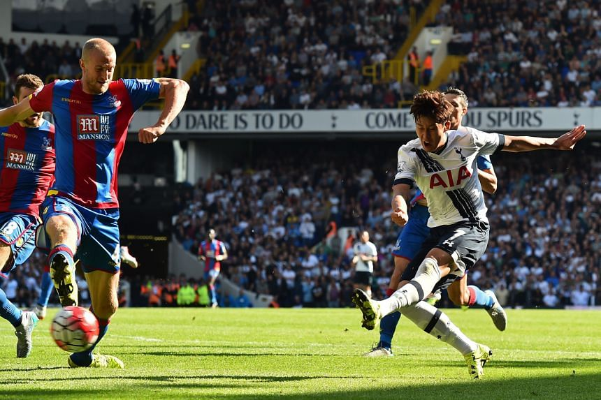 Striker Son Heung Min (in white) scoring against Crystal Palace. The South Korean has added pep to Tottenham's attack with his energy, excellence on the ball and shooting prowess.
