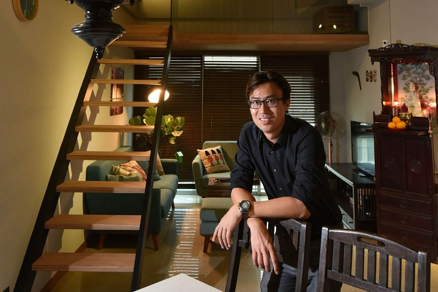 In the home of Mr Kaden Ching (above), the area under the flight of stairs has been turned into a cosy living room.