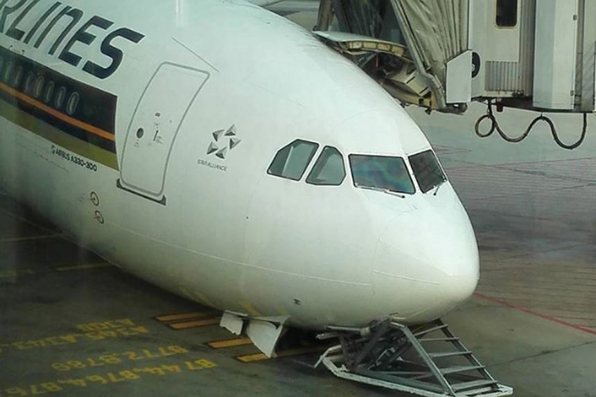 A Singapore Airlines (SIA) Airbus was damaged while the plane was undergoing checks yesterday morning. SIA said the nose gear retracted during a landing gear system check after maintenance work to rectify a defect. An engineer was on board at the tim