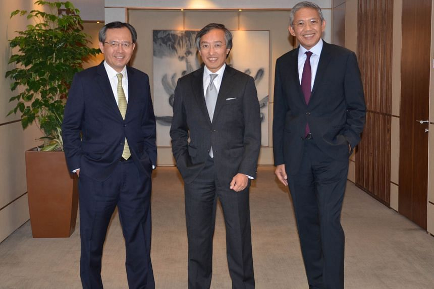 Assets under management held by the group - including OCBC Bank, Bank of Singapore and Lion Global Investors (LGI) - grew at a compound annual rate of 11.63 per cent from 2010 to last year. (From left) LGI CEO Gerard Lee, OCBC Bank COO Ching Wei Hong